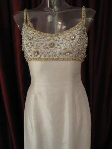 1960's Ivory shantung vintage sheath with crystal studded bodice